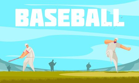 Summer sport baseball composition with outdoor stadium background and doodle characters of ballplayers on ball field vector illustration