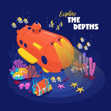 Funny deep diving bathyscaphe on ocean bottom surrounded by fish coral reef treasure chest isometric vector illustration