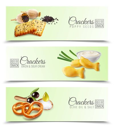 Realistic horizontal banners promoting crackers with poppy seeds onion and sour cream olive oil and salt vector illustration