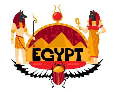 Egypt logo composition with ornate text authentic symbols and hieroglyphics with wings and patron gods characters vector illustration Illustration