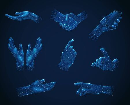 Set of hand gestures in blue polygonal wireframe style luminescent on dark background isolated vector illustration