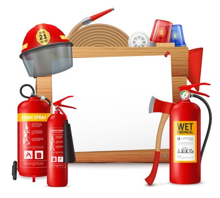 Fire extinguisger frame with clear piece of paper on wooden surface with fire-suppression bottle units vector illustration