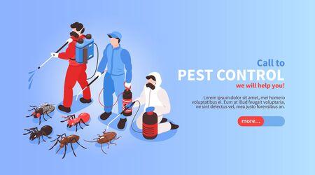 Isometrisches Website-Banner des Schädlingsbekämpfungshaushygiene-Desinfektionsdienstes mit professionellem Team, das Insektenhintergrund-Vektorillustration vernichtet