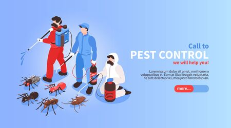 Pest control house hygiene disinfection service isometric website banner with professional team exterminating insects background vector illustration