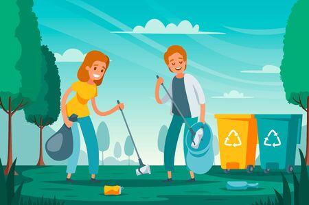 Moderne afvalinzameling afval sorteren platte samenstelling met vrijwilligers oppakken van afval rommel links buiten vectorillustratie