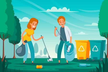 Modern garbage collection waste sorting flat composition with volunteers picking up litter junk left outdoor vector illustration