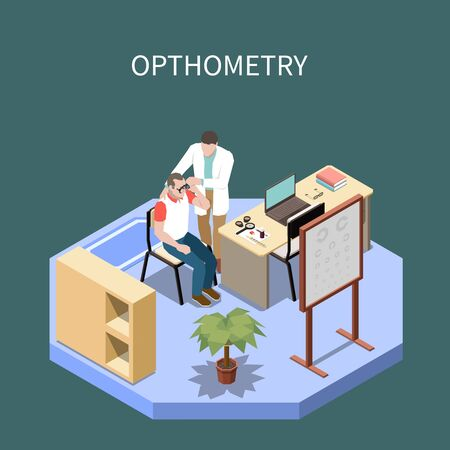 Ophthalmology isometric composition with optometrist checking eyes of male patient 3d vector illustration