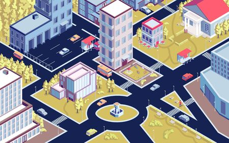 Isometric urban horizontal composition with birds eye view of modern city district with streets and buildings vector illustration