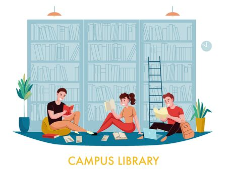 University campus library bookcases flat composition with students reading books articles with bookshelves in background vector illustration 写真素材 - 128160995