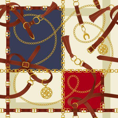 Sfondo realistico della cintura con lucchetto a catena con fibbia e illustrazione vettoriale a ferro di cavallo Vettoriali