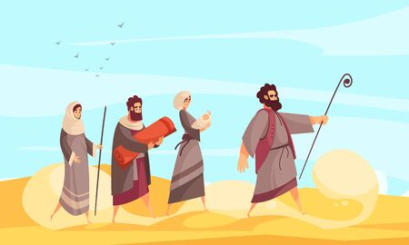 Bible narratives composition with desert scenery and character of moses leading people the way through sands vector illustration