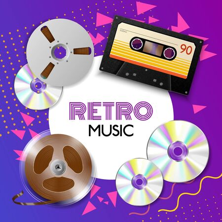 Realistic vintage music player frame composition with place for text and images of different music tapes vector illustration