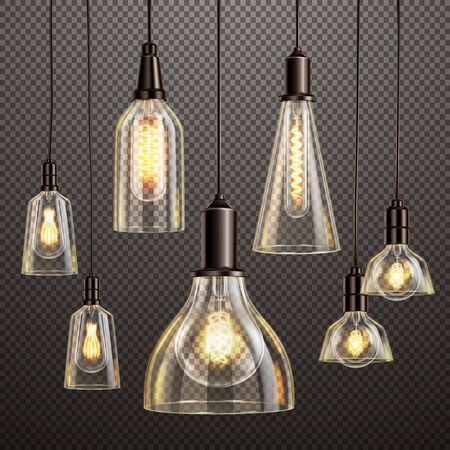 Lámparas colgantes de vidrio deco con filamento brillante bombillas led antiguas ilustración de vector transparente oscuro realista Ilustración de vector