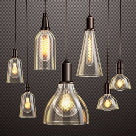 Hanging deco glass lamps with glowing filament antique led light bulbs realistic dark transparent set vector illustration