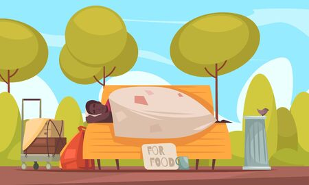 Poor homeless man sleeps outdoor on bench with beggars cup asking money for food flat banner vector illustration