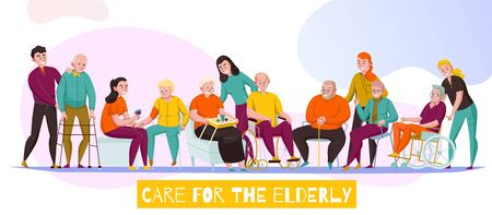 Nursery home senior care facilities for elderly disabled residents daily activities assistance flat horizontal banner vector illustration Illustration