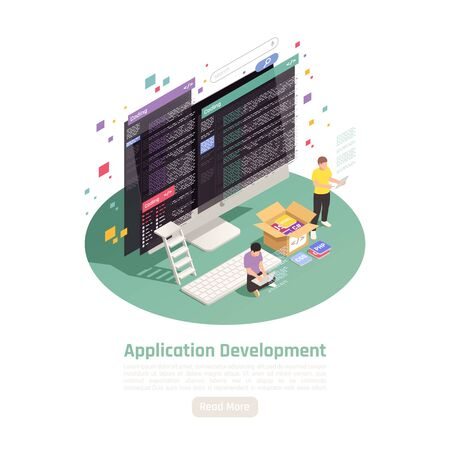 Application development isometric background composition with small people characters computer screens text and read more button vector illustration 矢量图像