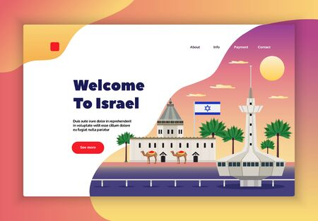 Israel travel page design with trip payment symbols flat  vector illustration Illustration