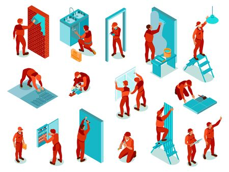 Home repair isometric color set with worker in red uniform performing various works indoors isolated vector illustration