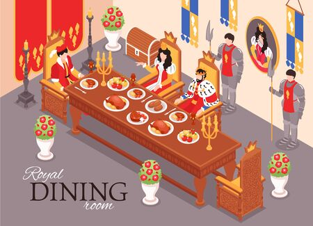 Isometric castle royal interior meal composition with text and indoor view of dining room in palace vector illustration