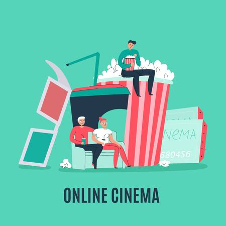 Cinema flat composition with popcorn tickets 3d glasses and people watching film online vector illustration Ilustração