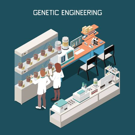 Concetto isometrico di genetica con scienziati e laboratorio con attrezzature per l'ingegneria genetica 3d illustrazione vettoriale