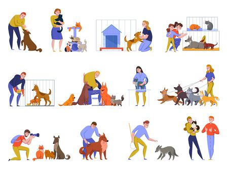 Animal shelter dogs cats set with doodle style human characters and animals isolated images of pets vector illustration
