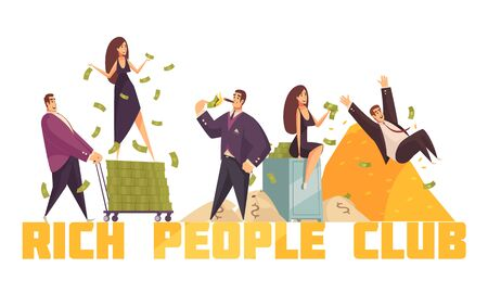 Exclusive rich people celebrities club header with millionaire sliding from money heap horizontal composition cartoon vector illustration