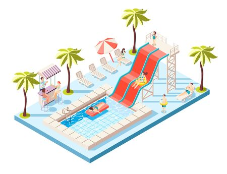 Aquapark isometric composition with water rides and swimming pool vector illustration