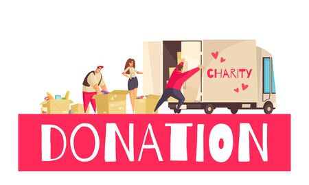 Charity composition with doodle human characters carton boxes filled with goods and cargo truck with text vector illustration