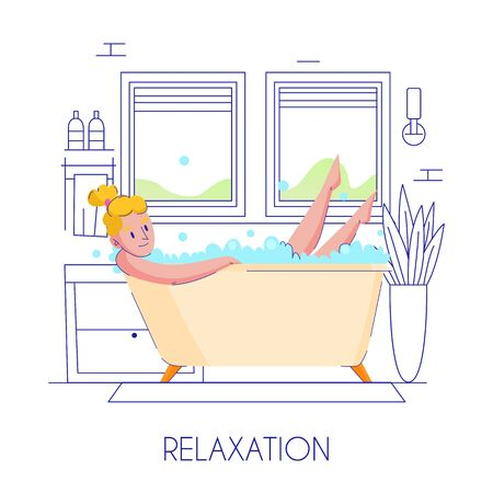 Woman hygiene flat composition with young blond lady relaxing in bath stylish outlined contour background vector illustration Ilustração