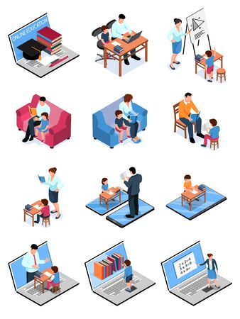 Isometric family homeschooling set with isolated images of computers gadgets pieces of furniture and human characters vector illustration Illustration