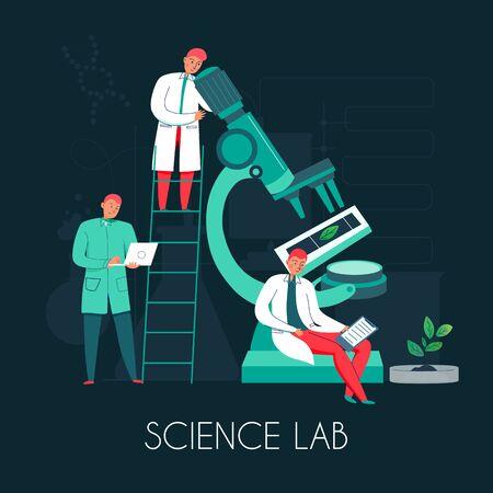Wissenschaftsmikroskop-Zusammensetzung mit Bildern der Mikroskop-Stufenleiter und einer Gruppe von Wissenschaftlercharakteren mit Textvektorillustration