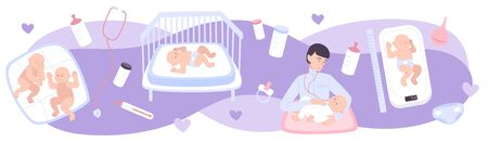 Pediatrics flat composition with sucklings lying on changing tables and pediatrician examining newborn vector illustration Illustration