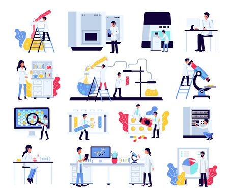 Pharmaceutic laboratory research chemistry scientists set with isolated compositions of human characters lab equipment and furniture vector illustration Illustration