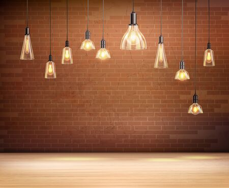 Ceiling light bulbs in empty room with brown brick wall realistic background vector illustration