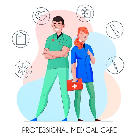 Medical care professionals flat composition with doctor and nurse surrounded by outlined first help symbols vector illustration