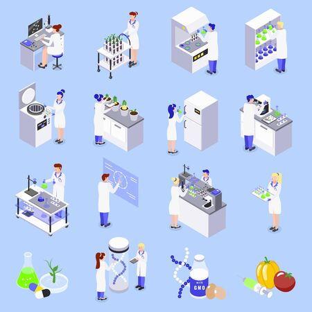 Bio engineering gmo technology isometric icons set with laboratory genetically altered dna plants food isolated vector illustration