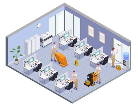Cleaning isometric and colored composition with isolated office room and cleaners work vector illustration