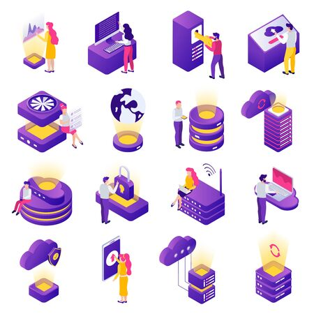 Datacenter isometric icons set with secure cloud storage data access worldwide online safety symbols isolated vector illustration
