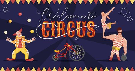 Circus horizontal composition with ornate text and colourful images human characters of performers with star signs vector illustration 矢量图像