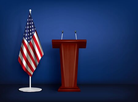 Wooden tribune rostrum with 2 microphones and american flag on stand realistic closeup composition isolated vector illustration Illustration