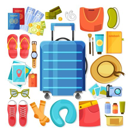Suitcase and contents flat icons composition of isolated images with personal belongings of summer vacation traveller vector illustration