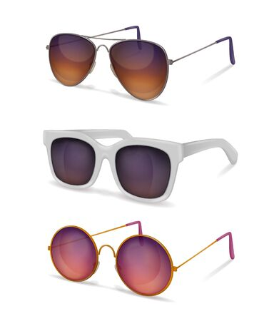 Sunglasses realistic set with different models of sun goggles with metal and plastic frames with shadows vector illustration Ilustrace