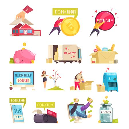 Charity set of isolated doodle image compositions with conceptual images of money gadgets goods and people vector illustration