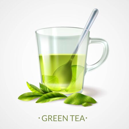 Realistic green tea background with editable text and images of ripe leaves and cup with spoon vector illustration