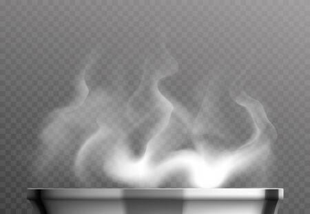 Vapeur blanche sur le concept de design réaliste de casserole sur illustration vectorielle fond transparent