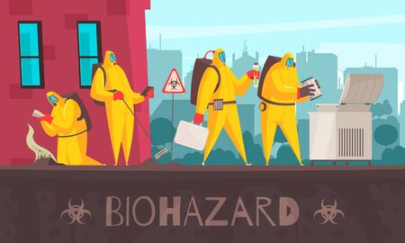 Microbiology composition with text and cityscape background with human characters in biohazard suits making certain observations vector illustration Illustration
