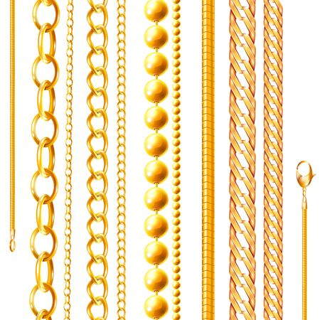 Realistic chain set of isolated golden jewelry chains of various shapes and shades on blank background vector illustration