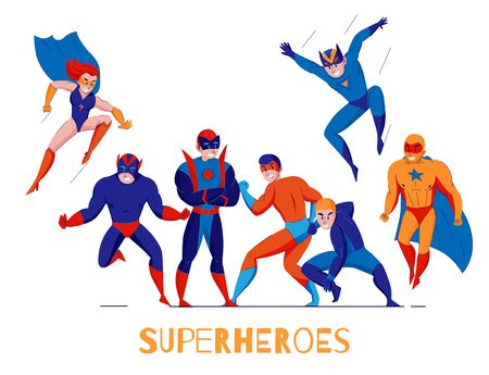 Comic books video computer games superheroes flat composition poster with super man and wonder woman vector illustration Imagens - 126115798